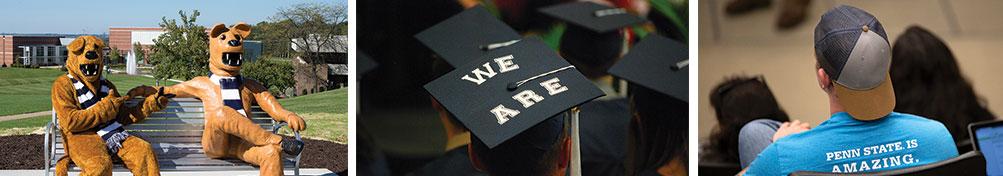 Lion and student graduates.