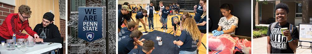 Students in different scenes around campus.