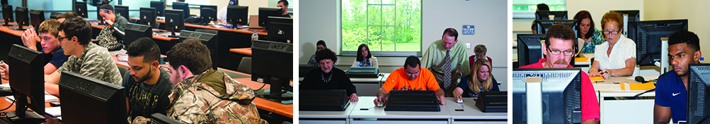 Students working in the computer labs.