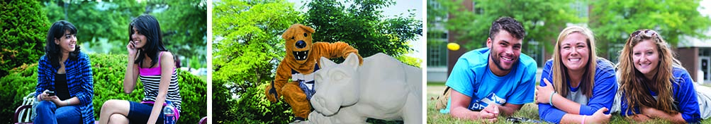 Students on campus and lion with the lion.