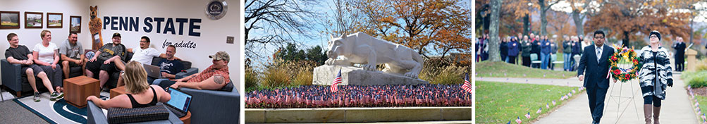 Adult/Veteran center, Lion with American Flag, and Veterans Day Service.