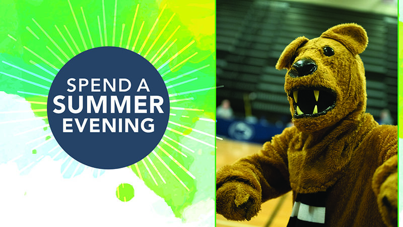Spend a summer evening graphic with Lion mascot.