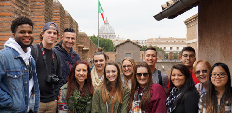 A group of students in front of the Castel Sant'Angelo