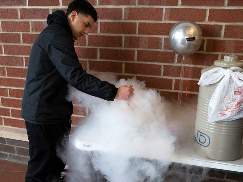 Student making ice cream.