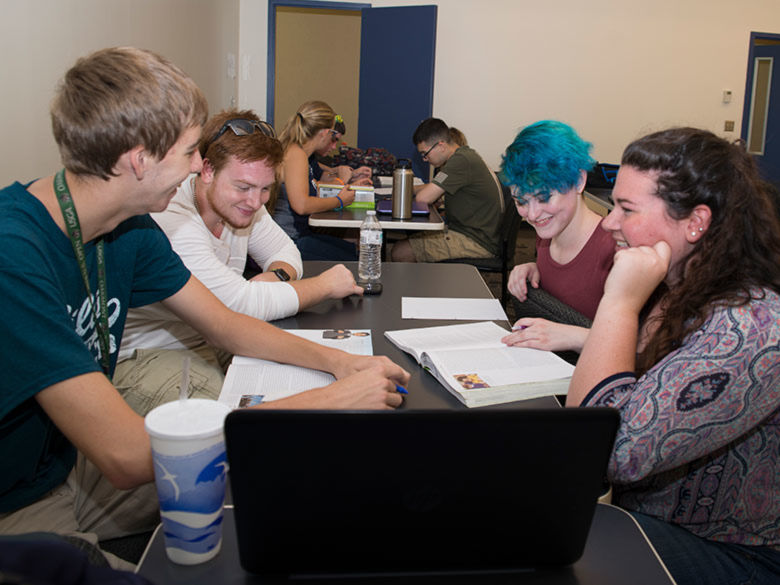 Students working on a group project in class.