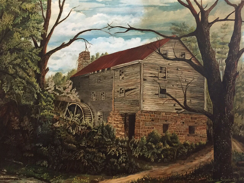 1964 painting of George Washington's local grist mill
