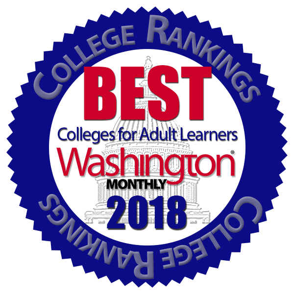 Washington Monthly Best College for Adult Learners Badge 2018