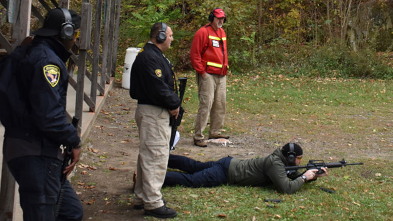 Constable Rocky Younkin (standing, right), an instructor with the Center for Community and Public Safety, trains Wilkinsburg Police Officers Brandon Rourke, (laying), Doug Yuhouse (center), and William Coffee (left) to become certified as patrol rifle instructors.