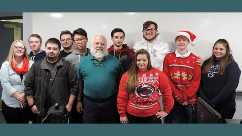 Pictured are, from left, first row: Kendall Mitchell, Andrew Charnovich, Meredith, and Danielle Shirosky. Second row: Christopher Kesterson, Justin Quaranto, Dairui Yang, Marco Morici, and Cara Jackson.