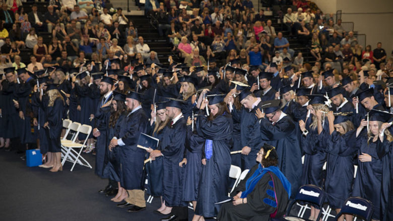119 graduates of the class of 2019 gather at Penn State Fayette for commencement.