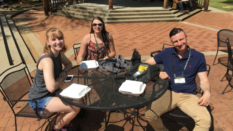 Emily Blaker, Samantha Long, and undergraduate research advisor Dr. Aris Karagiorgakis.