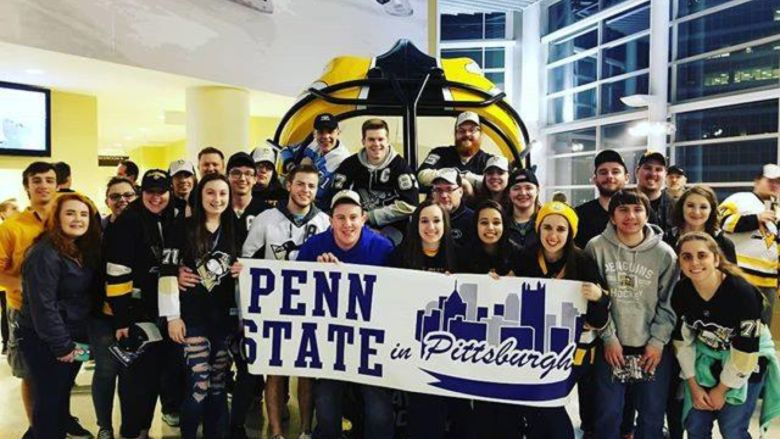 Penn State students at Pittsburgh Penguins game