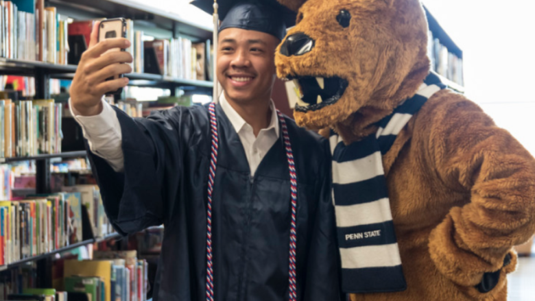 Penn State graduate with Nittany Lion