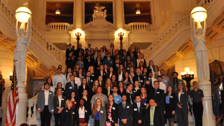 Undergraduate Research at the Capitol, students on steps
